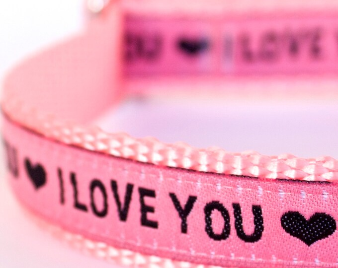 I Love You Dog Collar, Pink Pet Collar, Heart Dog Collar, Ribbon Adjustable Dog Collar