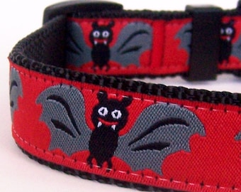 Batty Red Dog Halloween Collar, Fall Collar, Spooky Vampire Goth Dog Collar