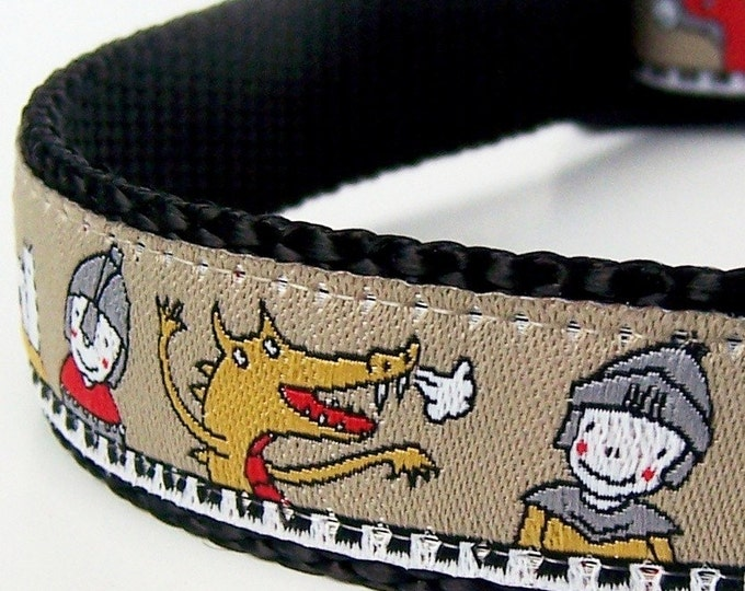 Dragons and Knights Dog Collar,  Renaissance Pet Collar,  Ribbon Dog Collar