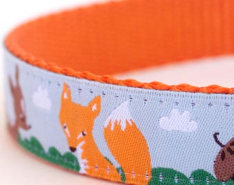 QUICK SHIP Fox and Deer Dog Collar, Adjustable Pet Collar, Shamrock, Forest Friends Dog Collar