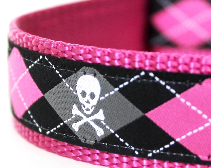 Pink Skulls and Argyle Dog Collar, Big Dog Collar, 1 Inch width, Adjustable Dog Collar, Goth Dog Collar