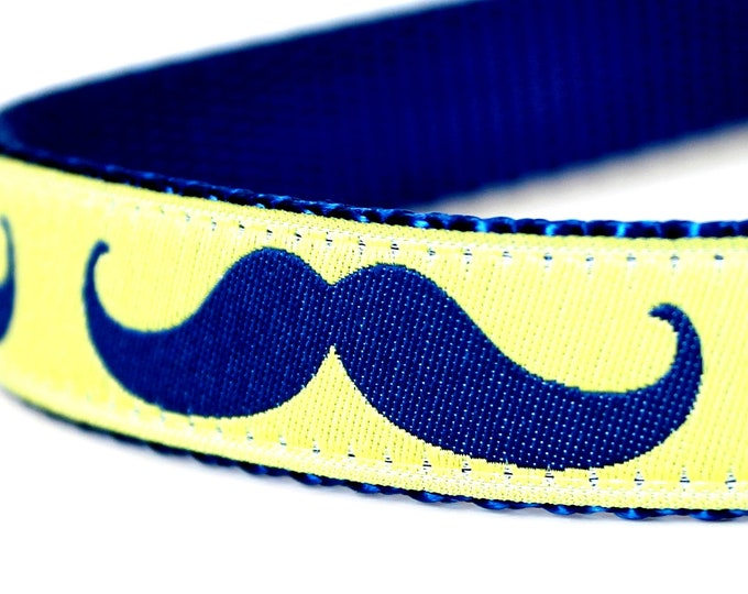 Blue Mustache Dog Collar / Lime Yellow Background / large mustache print