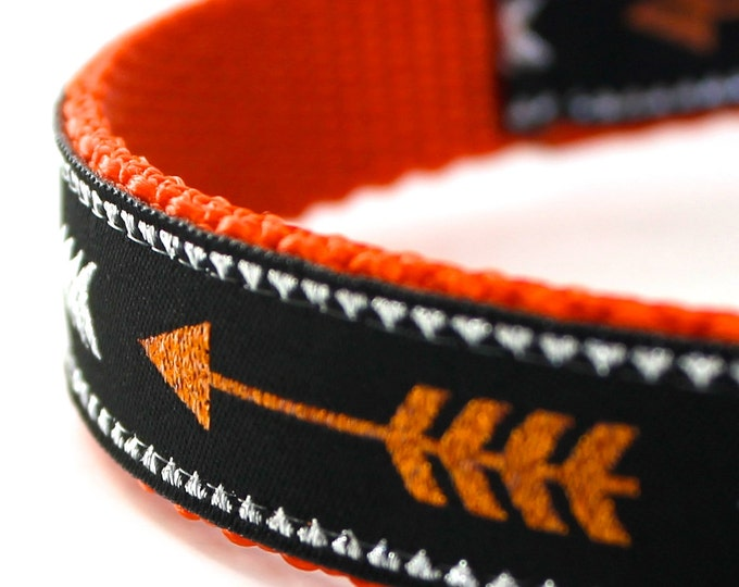 Glitter Arrow Dog Collar, Boho Chic,  Adjustable Orange Pet Collar, Tribal