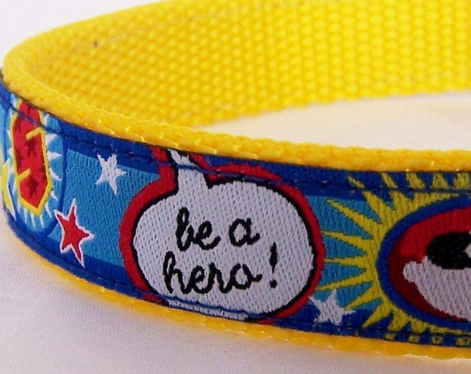 Hero Dog Collar, Super Hero Pet Collar, Blue Collar, Cartoon Dog Collar