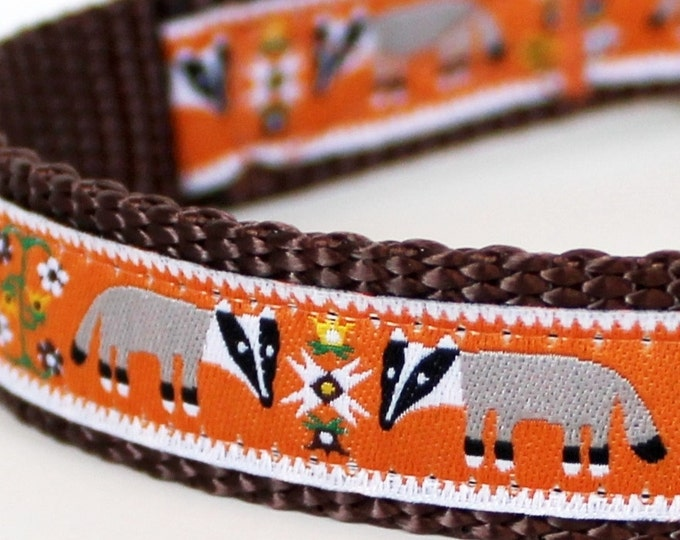 Honey Badger Dog Collar, Orange Pet Collar, Adjustable Ribbon Collar, Forest Dog Collar