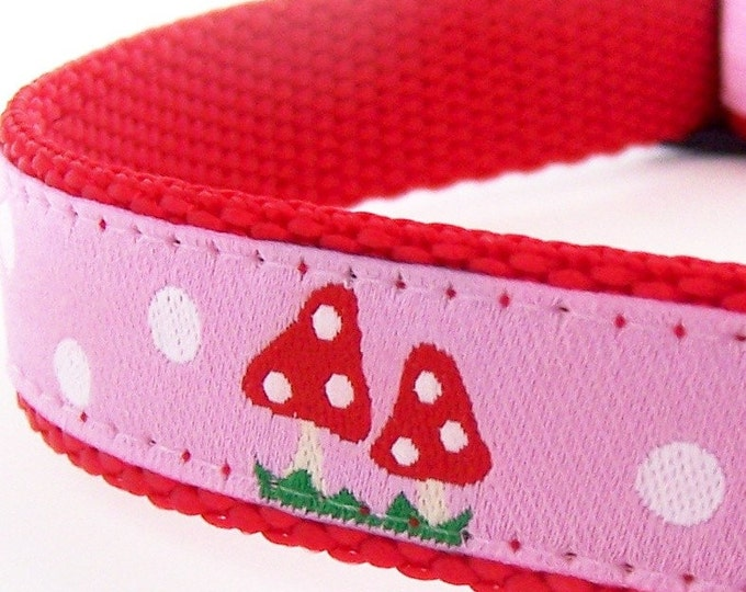 Pink Mushrooms Dog Collar, 5/8 inch width, Small Dog Collar, Ribbon Pet Collar