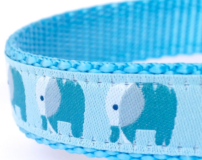 Elephant Dog Collar, Teal Blue Pet Collar, Animal Print, Jungle Dog Collar