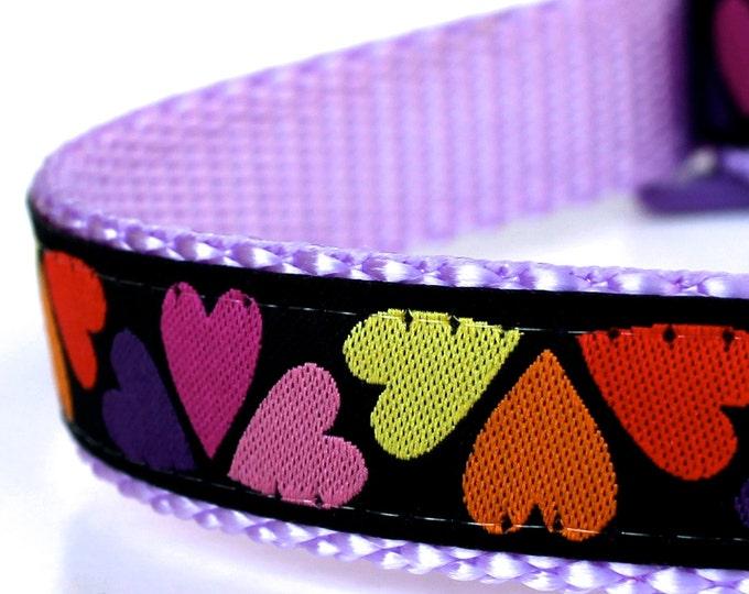 Hearts Galore Dog Collar, Ribbon Pet Collar, Love, Valentines