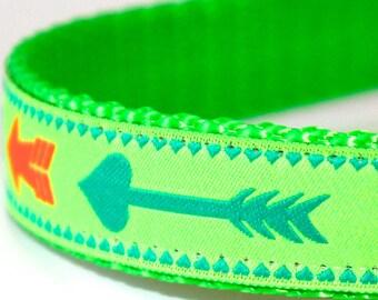 Neon Arrow Dog Collar, Boho Chic,  Adjustable Green Pet Collar, Tribal Print, Boho Chic