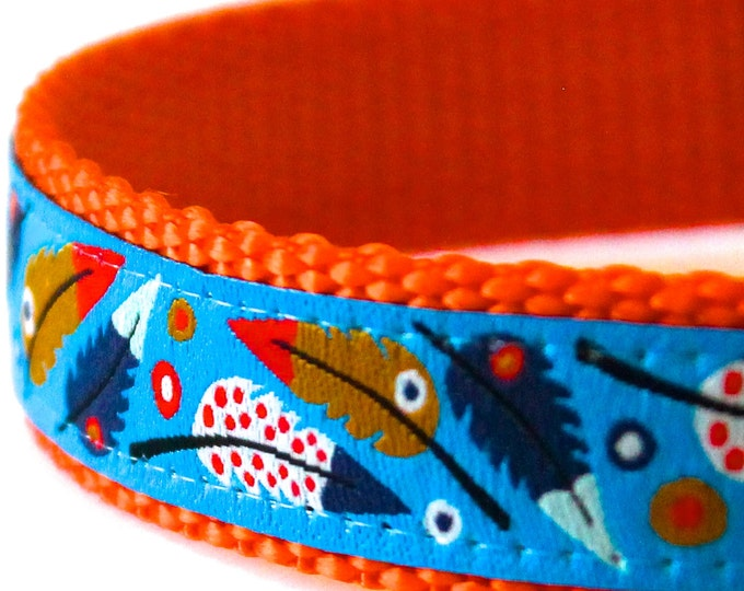 Feather Dog Collar, Boho Pet Collar, Tribal Dog Collar, Trendy Pet Collar