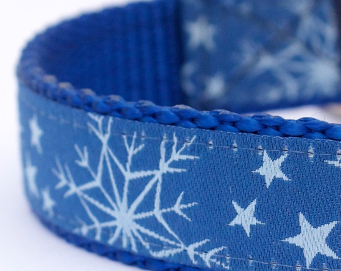 Blue Snowflake Dog Collar, Holiday Pet Collar, Winter Dog Collar, Christmas Dog Collar, Festive