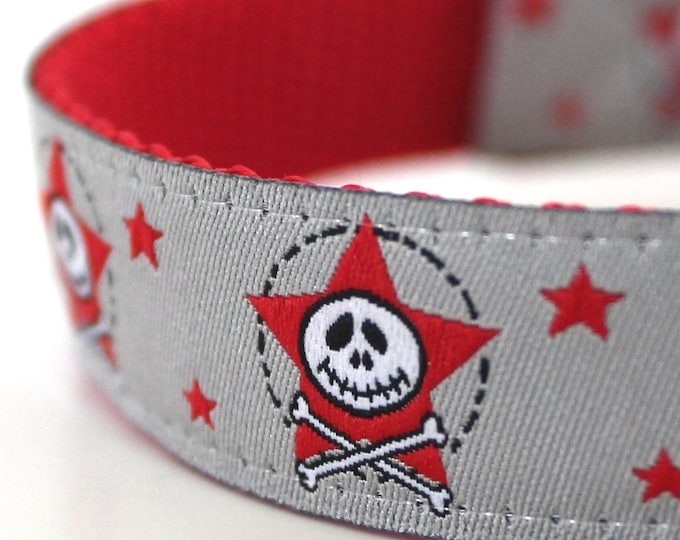 Grey Skull and Crossbones Dog Collar, Adjustable, Stars Pet Collar, Ribbon Collar