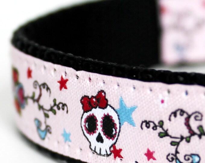 Skulls and Scrolls Dog Collar / Ribbon Dog Collar / Pink Dog Collar / Hipster