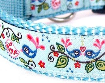 Love Birds Dog Collar, Aqua Blue, Adjustable Ribbon Dog Collar