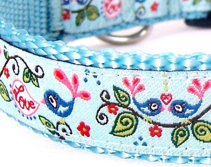 Love Birds Dog Collar, Aqua Blue, Adjustable Ribbon Dog Collar