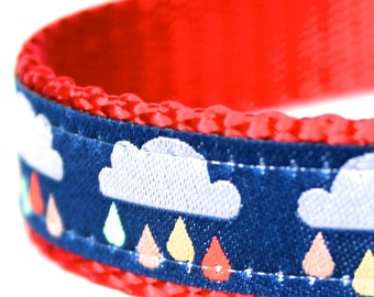 Rain Cloud Dog Collar, Rainbow Dog Collar, Stormy Dog Collar, Spring Showers Dog Collar, Monsoon Dog Collar XS/Small ONLY