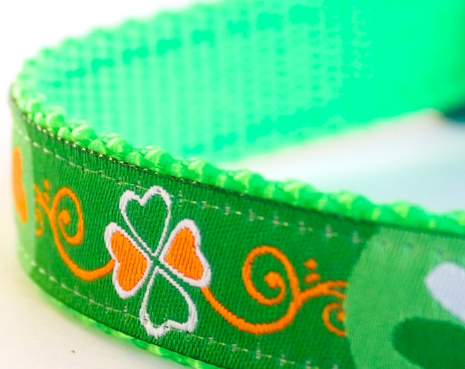 Shamrock Dog Collar, Green Pet Collar, St. Patrick's Day, Lucky Adjustable Dog Collar