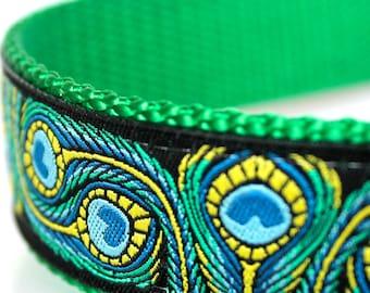 Peacock Feathers Dog Collar, 1 inch width, Big Dog Collar, Colorful Ribbon Pet Collar, Adjustable