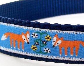 Fox Dog Collar, Woodland Friends, Blue Folk Ribbon Pet Collar, Wildlife Print Collar