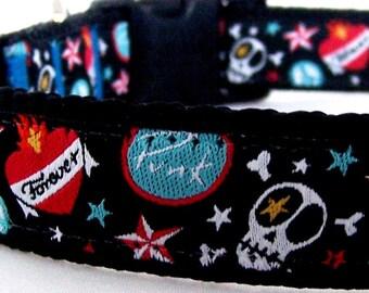 Show Me Your Tattoo Dog Collar,  Skull Rocker Dog Collar,  Boy Dog Collar, Black