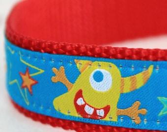 Funky Monsters Adjustable fun dog collar, Space Aliens Blue Pet Collar