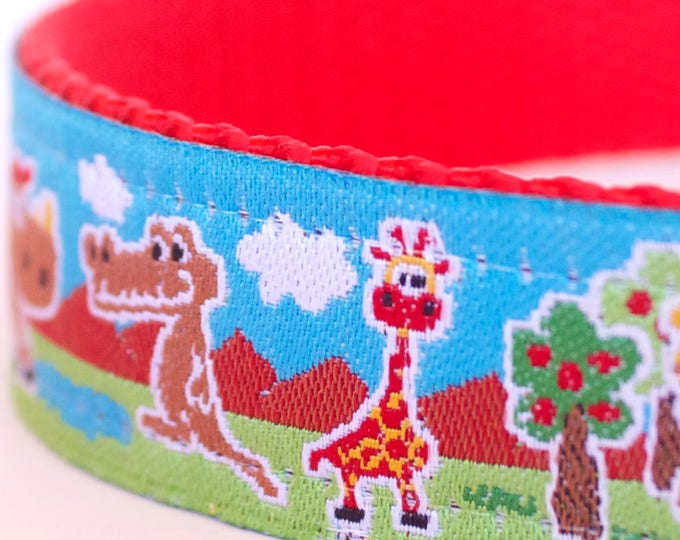 Jungle Fun Dog Collar, Adjustable Pet Collar, Giraffe, Lion, Alligator Dog Collar