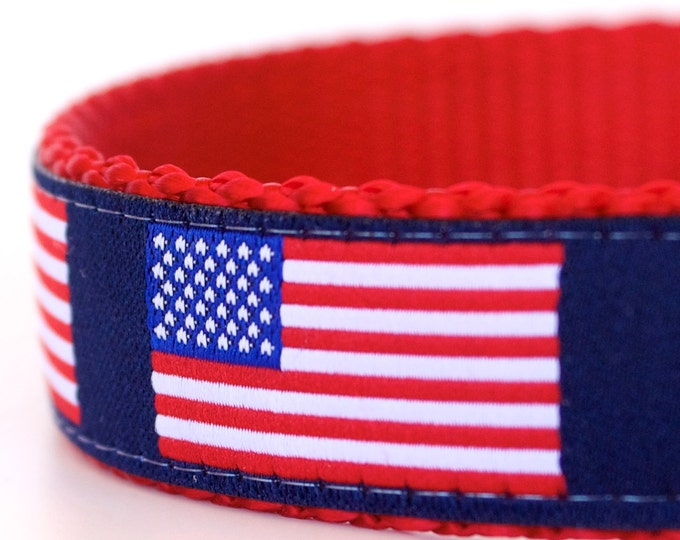US Flag Dog Collar, Adjustable Pet Collar, July 4th, Patriotic Dog Collar, Red White and Blue