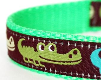 Alligator Crocodile Australia Florida Dog Collar, Lime Green Pet Collar