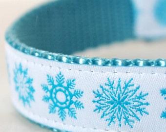 Frozen Snowflake Ice Blue Snowflakes Adjustable European Ribbon Dog Collar