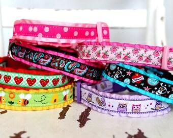 Add Ruffle to your 3/4 inch or 5/8 inch Collar / Collar Upgrade / Ruffle Dog Collar
