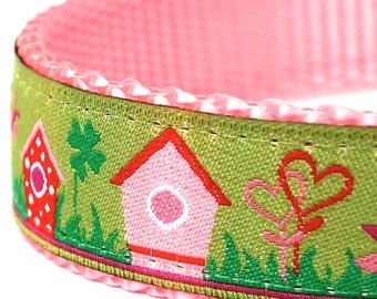 Pink Birdhouse Dog Collar, Ribbon Adjustable Pet Collar, Spring Summer Collar, Birds, Garden