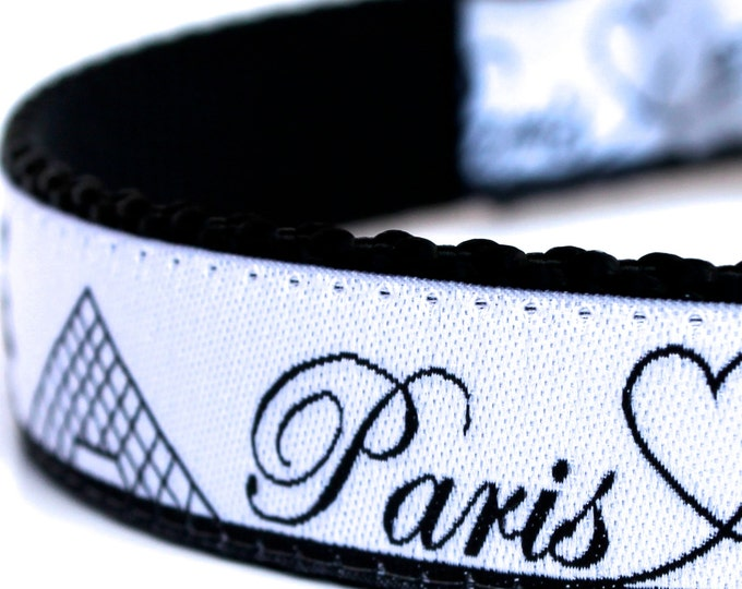 Paris Dog Collar, City Skyline Pet Collar, Eiffel Tower, Louvre Ribbon Collar, European Dog Collar