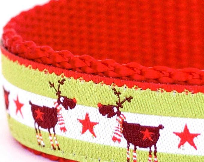 Winter Deer Dog Collar, Green Pet Collar, Holiday Christmas Collar, Reindeer Dog Collar