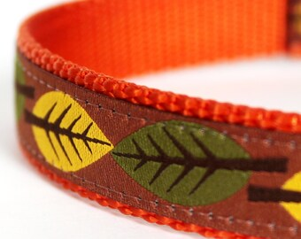 Fall Leaves Dog Collar, Ribbon Dog Collar,  Harvest,  Autumn Pet Collar