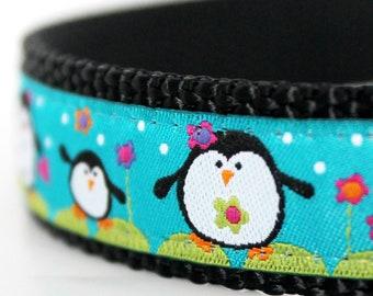 Happy Penguin Dog Collar on Turquoise, Christmas Pet Collar, Holiday Winter Collar