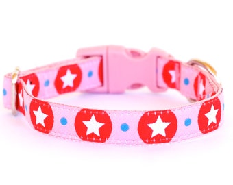 Stars Dog Cat Collar, Pink Collar, Teacup, Kitty Cat, 1/2 inch width, Small Puppy