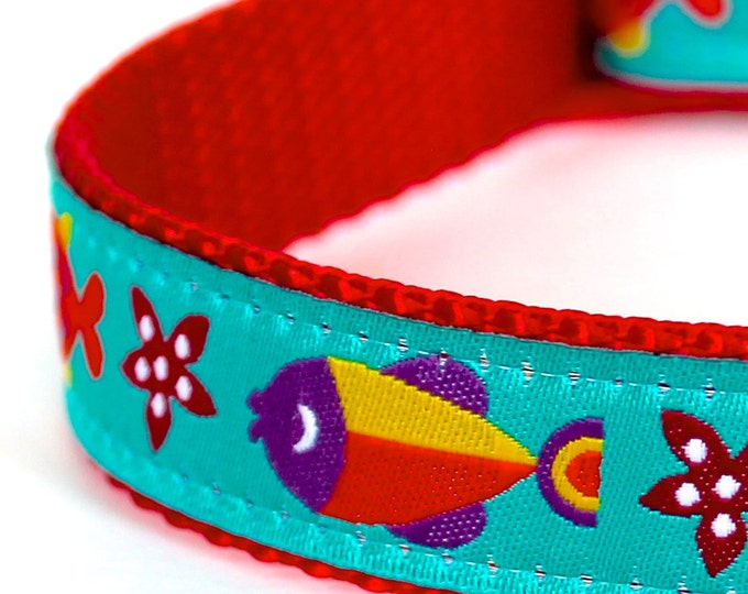 Colorful Fish Dog Collar, Ribbon Adjustable Collar, Summer, Ocean Beach Dog Collar