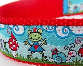 Miss Frog's Laundry Day Dog Collar, Fun Pet Collar, Adjustable Ribbon Dog Collar