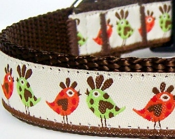 Retro Chickens Dog Collar, Adjustable Pet Collar, Barnyard, Chicks, Rooster, Ribbon Dog Collar