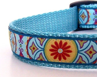 Red Flower Dog Collar, Bohemian Dog Collar, Summer Dog Collar, Adjustable Dog Collar, Henna Dog Collar XS, Sm, Med ONLY