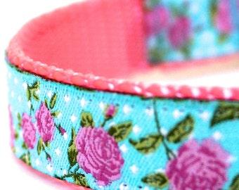 Aqua Roses Shabby Chic Cottage Adjustable Ribbon Dog Collar