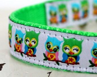 Retro Owls Dog Collar / Adjustable Pet Collar, Cute Owl Collar, Ribbon Dog Collar