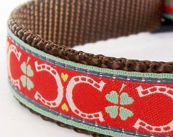 Lucky Dog Collar Red, Adjustable Dog Collar, Horseshoe Dog Collar,  Shamrocks St. Patrick's Day