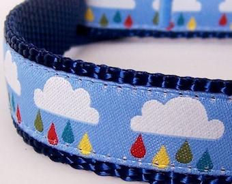 Clouds and Raindrops Adjustable Dog Collar Rainbow Spring Dog Collar