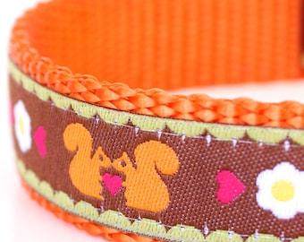 RESERVED for Courtney  - Orange Squirrels Dog Collar, Adjustable Ribbon Pet Collar, Woodland