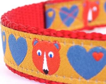 Fox and Bears Hearts Dog Collar, Mustard Yellow , Adjustable Pet Collar, Forest Friends Pet Collar