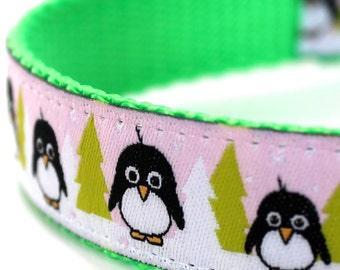Arctic Penguin Dog Collar,  Pink Ribbon Dog Collar,  Adjustable, Christmas Dog Collar