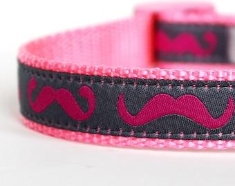 Pink Mustache Dog Collar, Adjustable Ribbon Pet Collar, Hipster Dog Collar