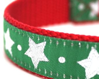 Green Glitter Stars Dog Collar, Christmas Pet Collar,  Holiday
