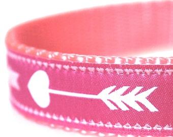Pink Arrow Dog Collar, Boho Chic,  Adjustable Pet Collar, Tribal